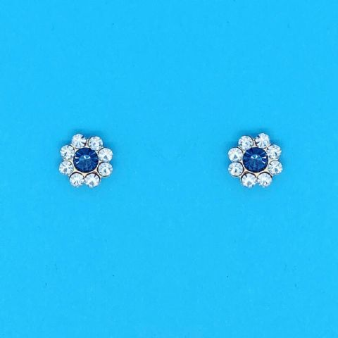 Genuine 9 Carat Gold Stud Earrings With White And Blue Crystals